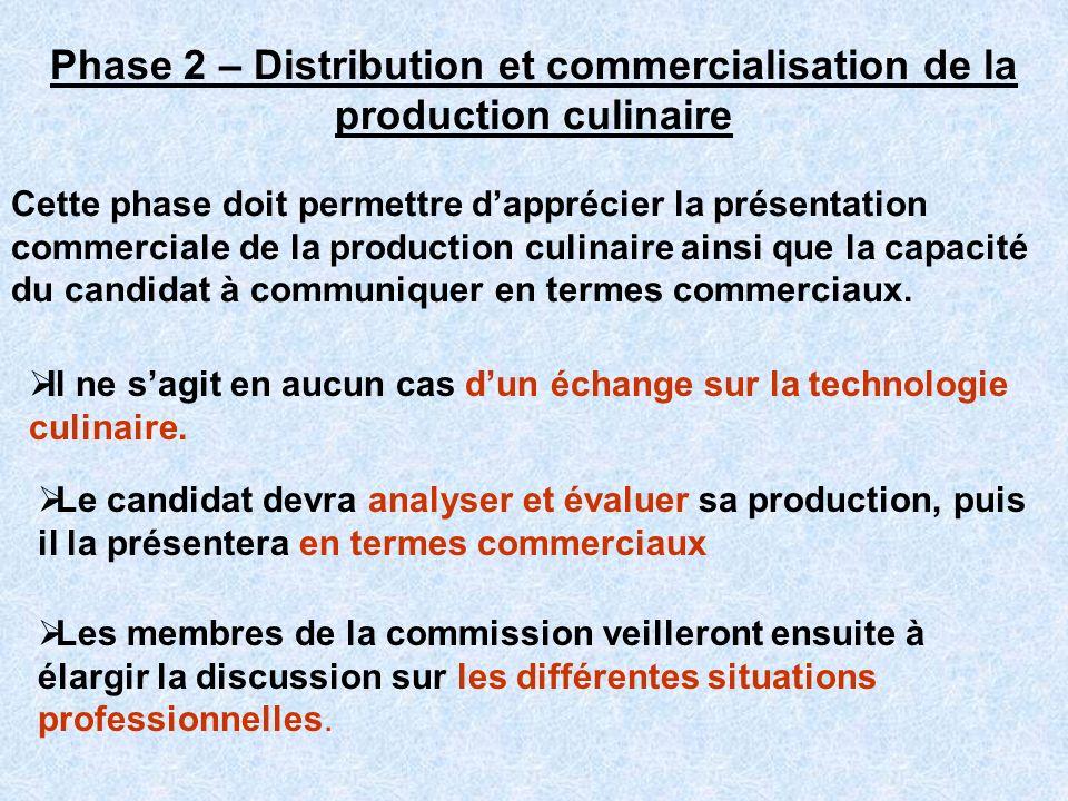 Phase 2 – Distribution et commercialisation de la production culinaire Cette phase doit permettre dapprécier la présentation commerciale de la product