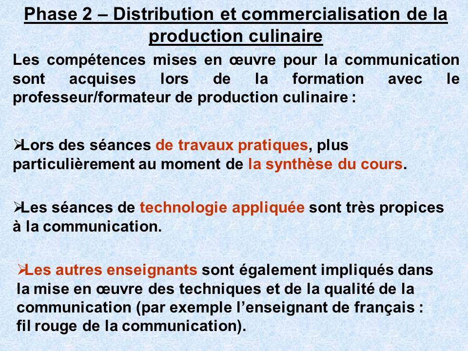 Phase 2 – Distribution et commercialisation de la production culinaire Les compétences mises en œuvre pour la communication sont acquises lors de la f