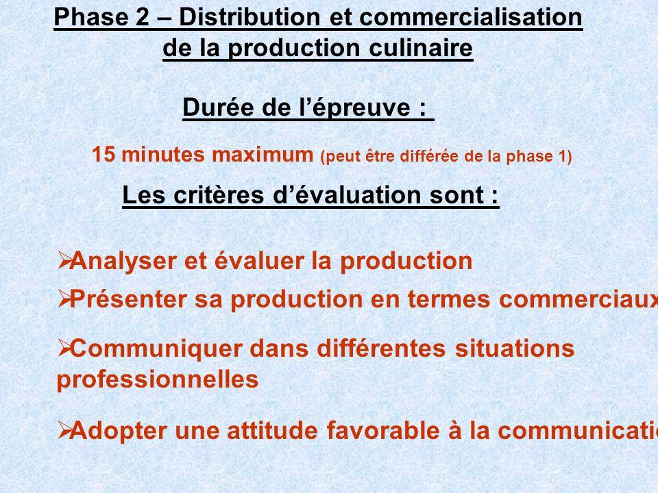Phase 2 – Distribution et commercialisation de la production culinaire 15 minutes maximum (peut être différée de la phase 1) Les critères dévaluation