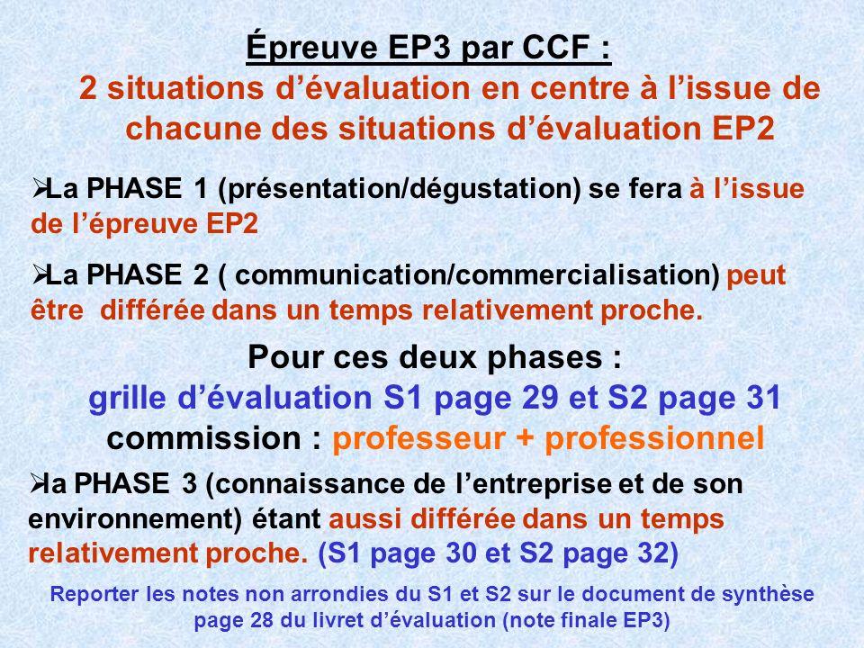 Épreuve EP3 par CCF : 2 situations dévaluation en centre à lissue de chacune des situations dévaluation EP2 La PHASE 1 (présentation/dégustation) se f