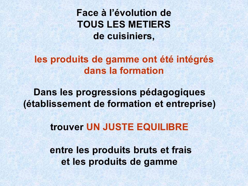 Face à lévolution de TOUS LES METIERS de cuisiniers, les produits de gamme ont été intégrés dans la formation Dans les progressions pédagogiques (étab