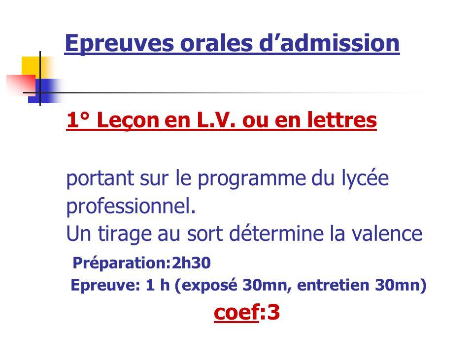 Epreuves orales dadmission 1° Leçon en L.V.