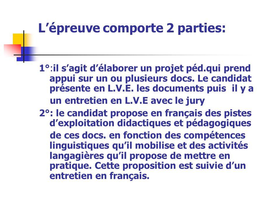 Lépreuve comporte 2 parties: 1°:il sagit délaborer un projet péd.qui prend appui sur un ou plusieurs docs.