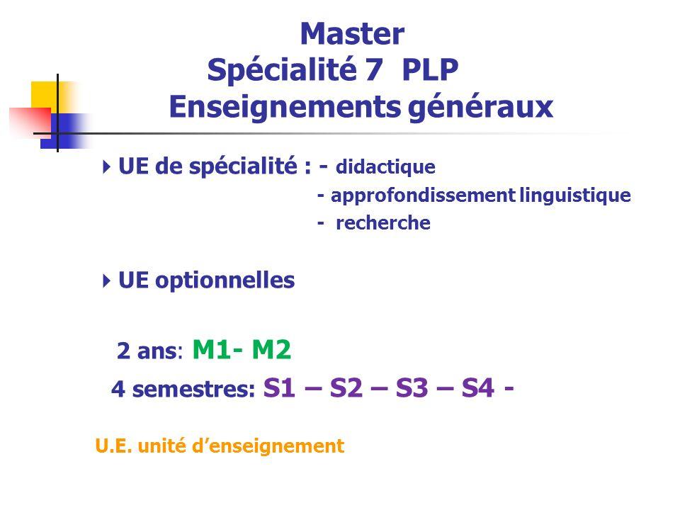 Master Spécialité 7 PLP Enseignements généraux UE de spécialité : - didactique - approfondissement linguistique - recherche UE optionnelles 2 ans: M1- M2 4 semestres: S1 – S2 – S3 – S4 - U.E.