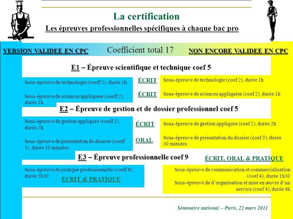 Les épreuves professionnelles spécifiques à chaque bac pro Sous-épreuve de technologie (coeff 2), durée 1h Sous-épreuve de sciences appliquées (coeff
