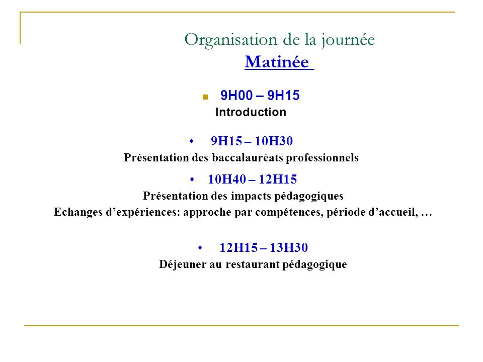 Organisation de la journée Matinée 9H00 – 9H15 Introduction 9H15 – 10H30 Présentation des baccalauréats professionnels 10H40 – 12H15 Présentation des