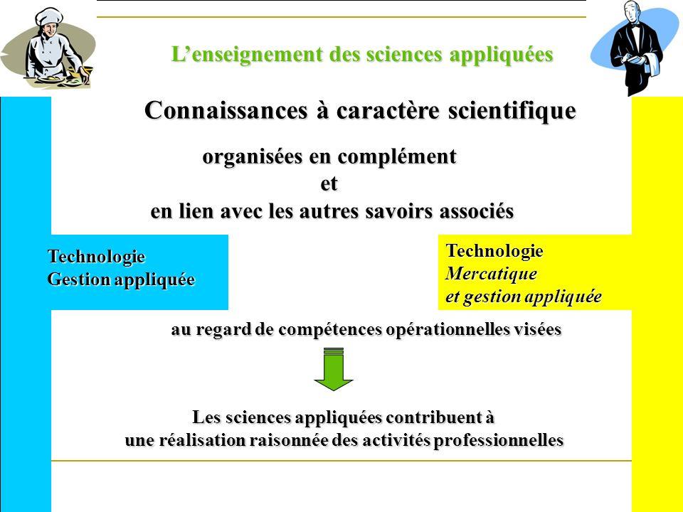 Les sciences appliquées contribuent à une réalisation raisonnée des activités professionnelles Lenseignement des sciences appliquées Connaissances à c