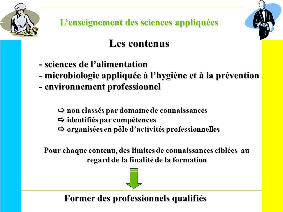 Les contenus - sciences de lalimentation - microbiologie appliquée à lhygiène et à la prévention - environnement professionnel Pour chaque contenu, de