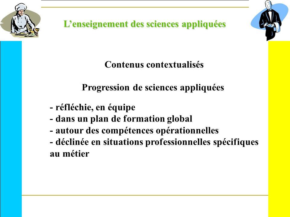 Lenseignement des sciences appliquées Contenus contextualisés Progression de sciences appliquées - réfléchie, en équipe - dans un plan de formation gl