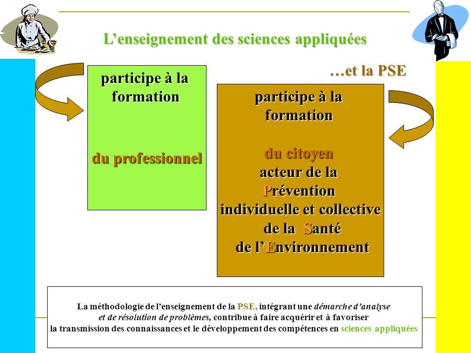 Lenseignement des sciences appliquées …et la PSE participe à la formation du professionnel participe à la formation du citoyen acteur de la Prévention
