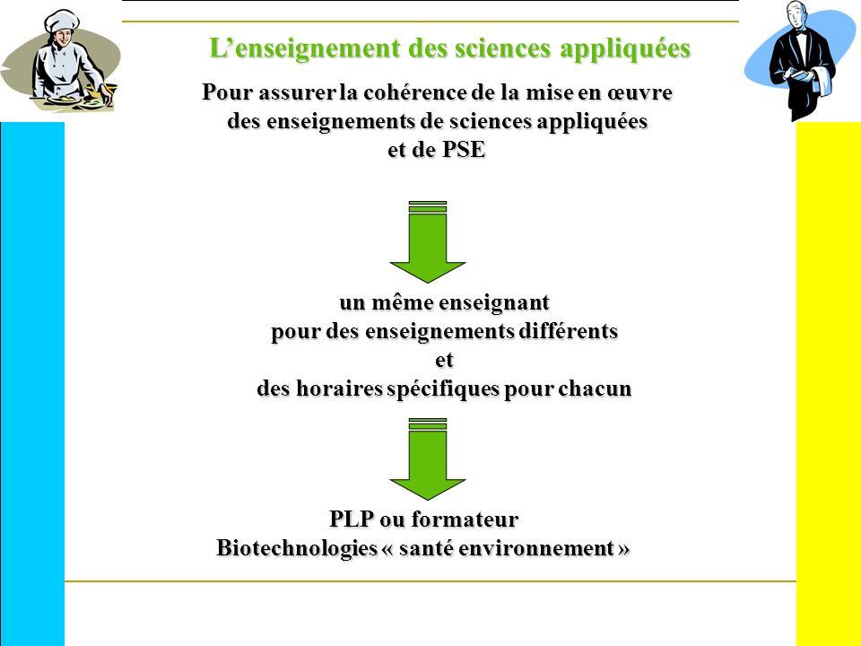Pour assurer la cohérence de la mise en œuvre des enseignements de sciences appliquées et de PSE un même enseignant pour des enseignements différents