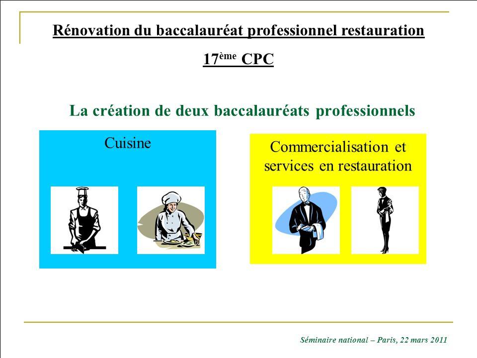 Commercialisation et services en restauration Cuisine Rénovation du baccalauréat professionnel restauration 17 ème CPC La création de deux baccalauréa