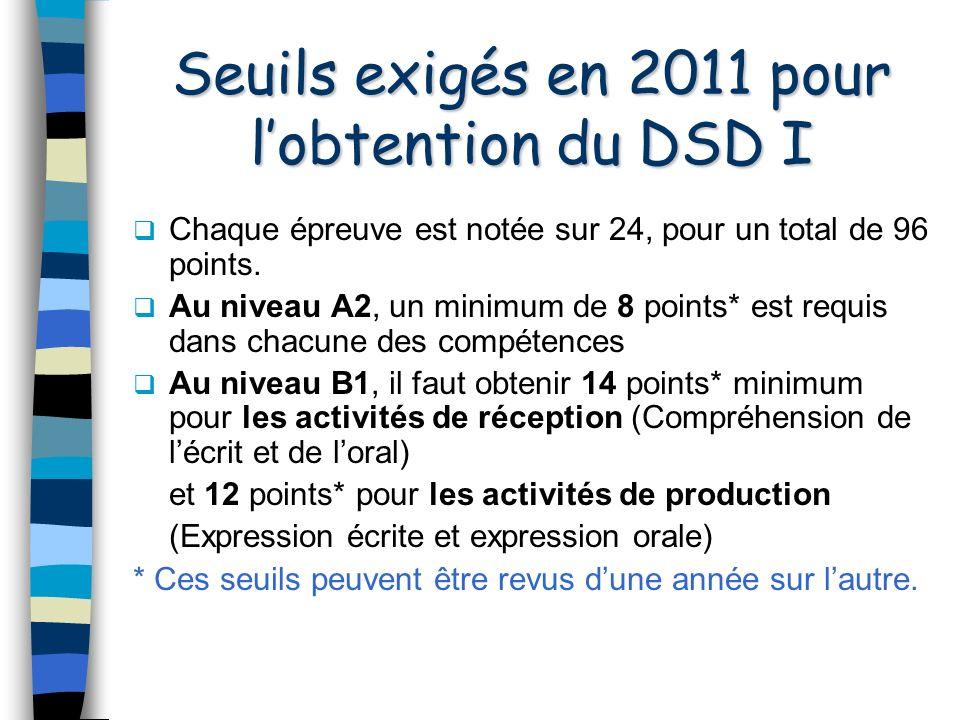 Seuils exigés en 2011 pour lobtention du DSD I Chaque épreuve est notée sur 24, pour un total de 96 points.