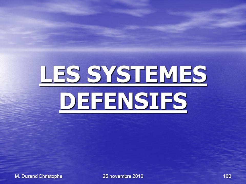M. Durand Christophe25 novembre 2010100 LES SYSTEMES DEFENSIFS