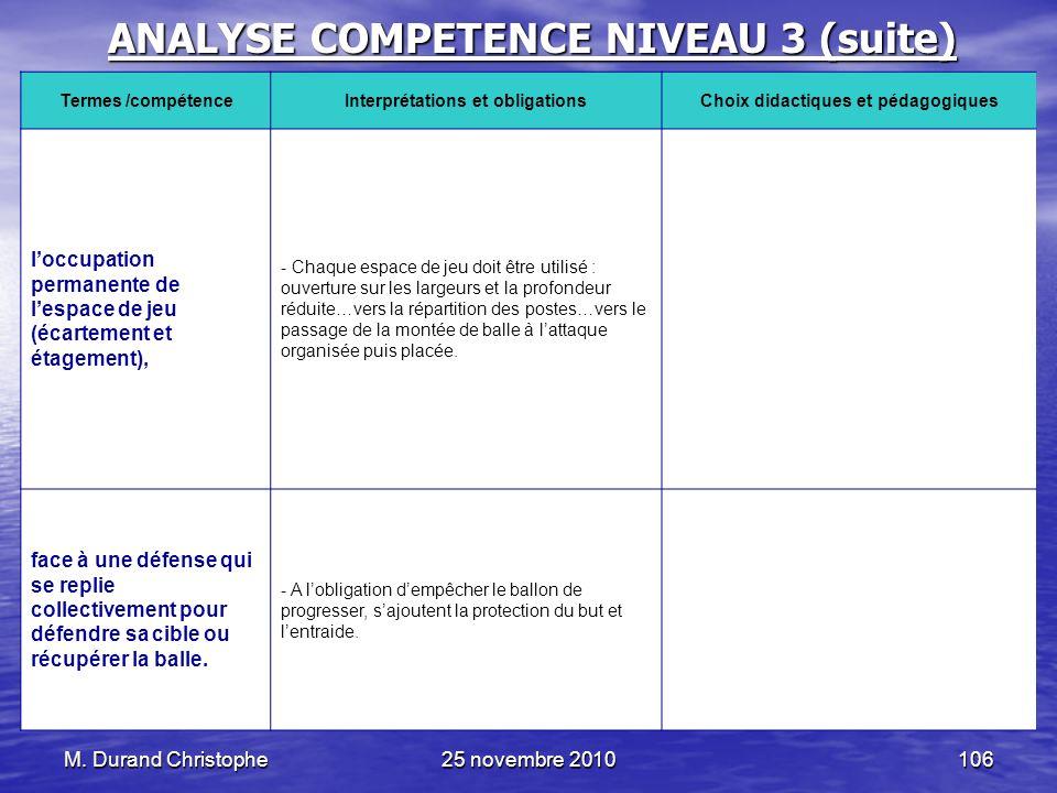 M. Durand Christophe25 novembre 2010106 ANALYSE COMPETENCE NIVEAU 3 (suite) Termes /compétenceInterprétations et obligationsChoix didactiques et pédag