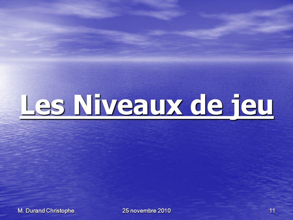 M. Durand Christophe25 novembre 201011 Les Niveaux de jeu