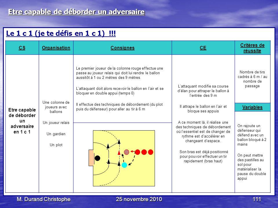 M. Durand Christophe25 novembre 2010111 Le 1 c 1 (je te défis en 1 c 1) !!! CSOrganisationConsignesCE Critères de réussite Etre capable de déborder un
