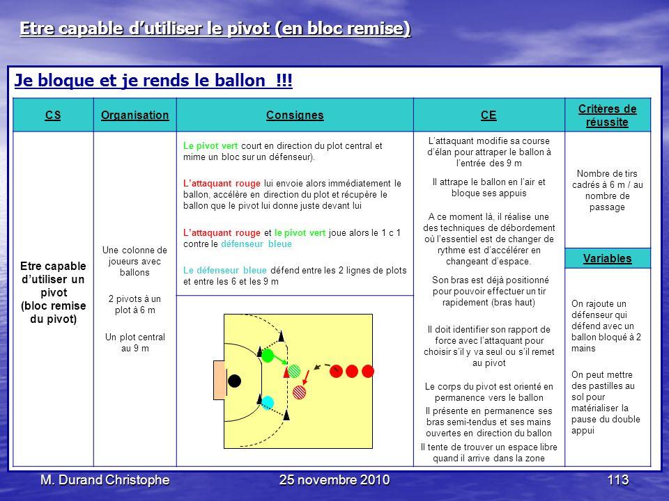 M. Durand Christophe25 novembre 2010113 Je bloque et je rends le ballon !!! CSOrganisationConsignesCE Critères de réussite Etre capable dutiliser un p