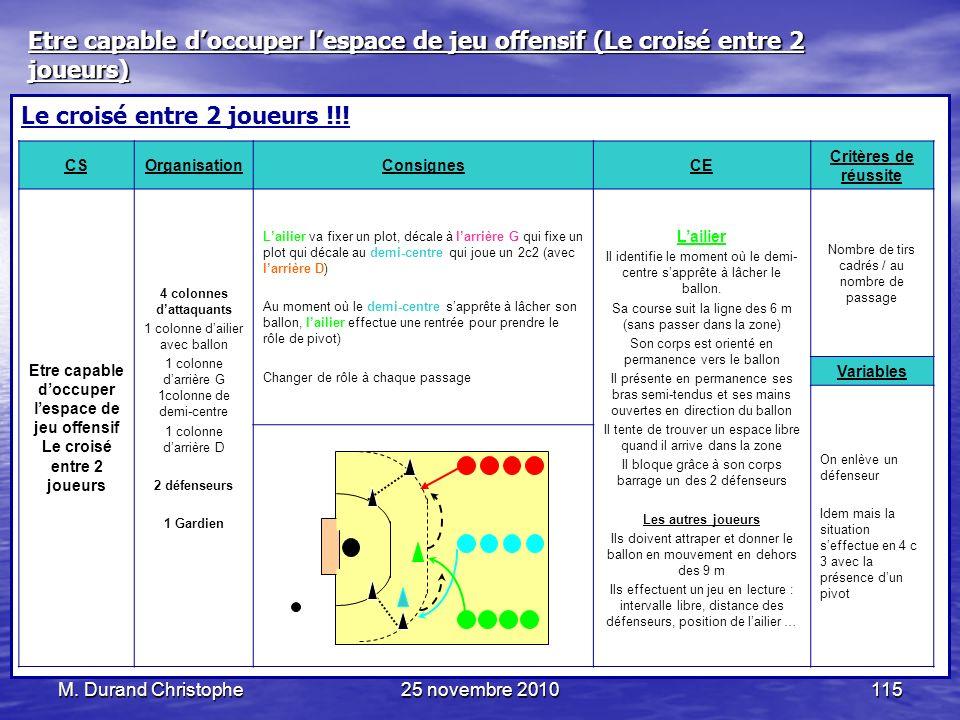 M. Durand Christophe25 novembre 2010115 Le croisé entre 2 joueurs !!! CSOrganisationConsignesCE Critères de réussite Etre capable doccuper lespace de