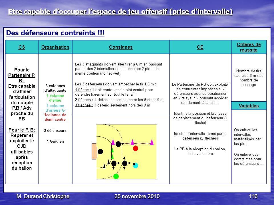 M. Durand Christophe25 novembre 2010116 Des défenseurs contraints !!! CSOrganisationConsignesCE Critères de réussite Pour le Partenaire P. B : Etre ca