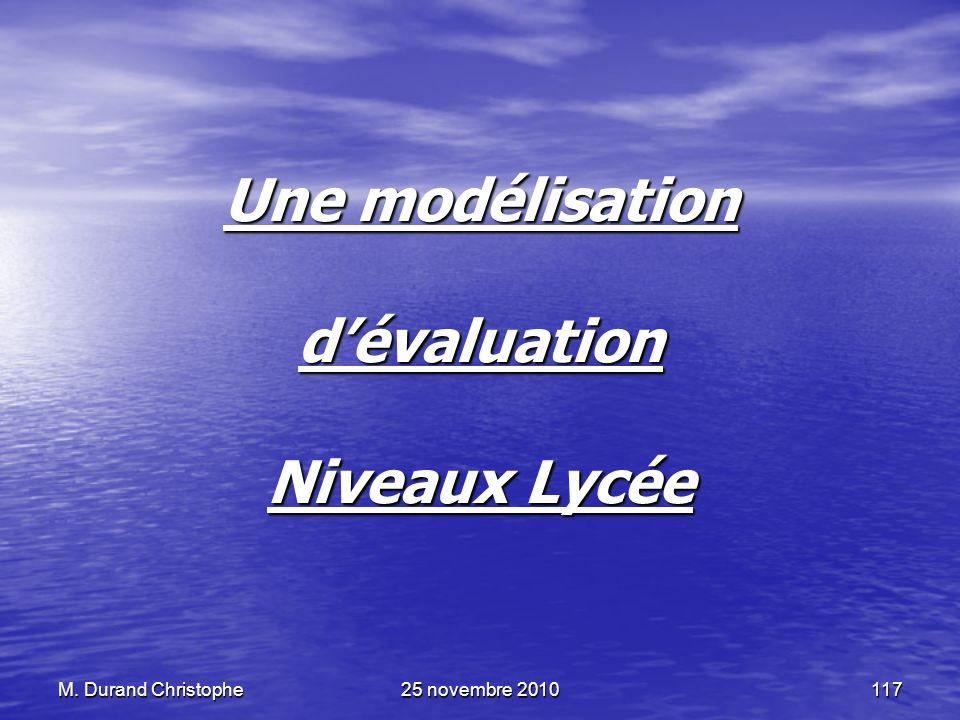 M. Durand Christophe25 novembre 2010117 Une modélisation dévaluation Niveaux Lycée
