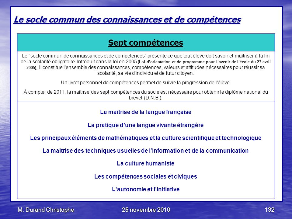M. Durand Christophe25 novembre 2010132 Le socle commun des connaissances et de compétences Sept compétences Le