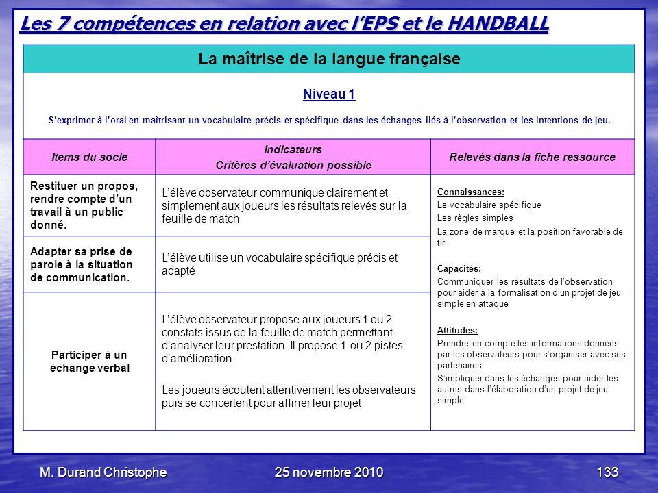 M. Durand Christophe25 novembre 2010133 Les 7 compétences en relation avec lEPS et le HANDBALL La maîtrise de la langue française Niveau 1 Sexprimer à