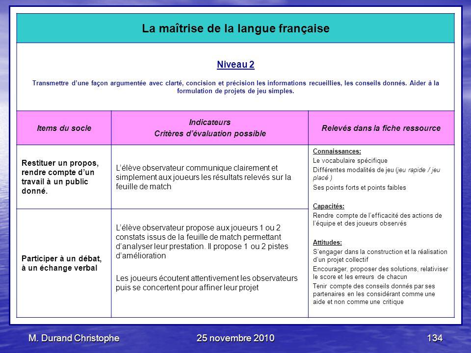 M. Durand Christophe25 novembre 2010134 La maîtrise de la langue française Niveau 2 Transmettre dune façon argumentée avec clarté, concision et précis