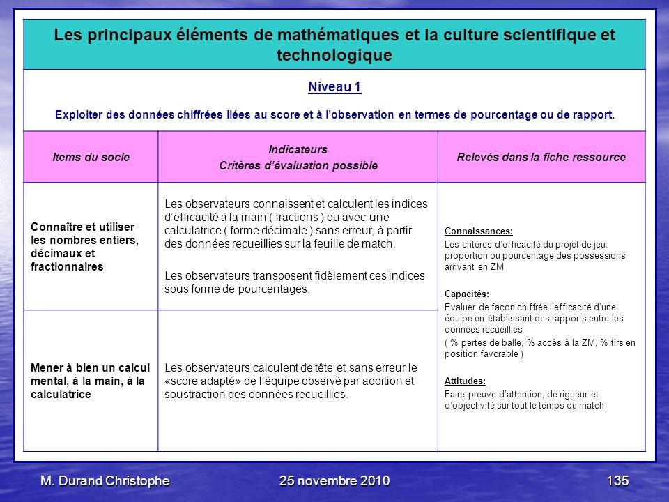 M. Durand Christophe25 novembre 2010135 Les principaux éléments de mathématiques et la culture scientifique et technologique Niveau 1 Exploiter des do