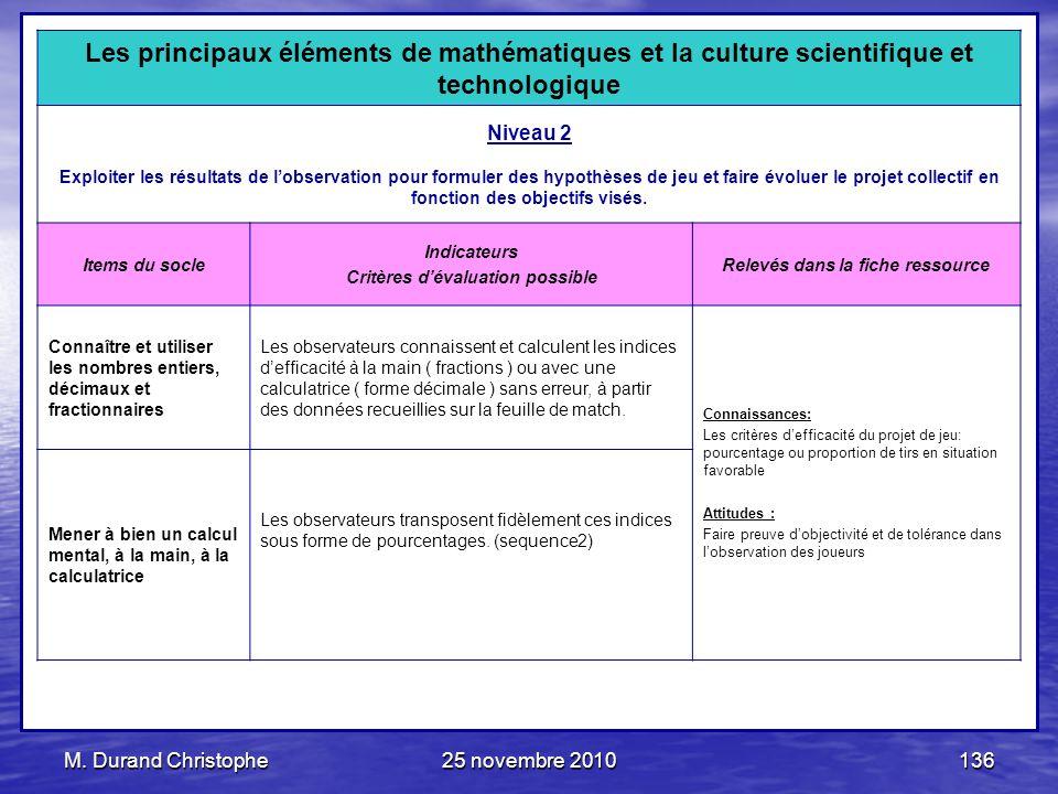 M. Durand Christophe25 novembre 2010136 Les principaux éléments de mathématiques et la culture scientifique et technologique Niveau 2 Exploiter les ré