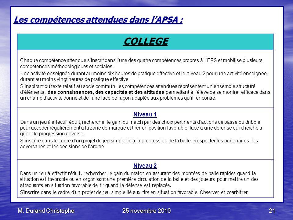M. Durand Christophe25 novembre 201021 Les compétences attendues dans lAPSA : COLLEGE Chaque compétence attendue sinscrit dans lune des quatre compéte