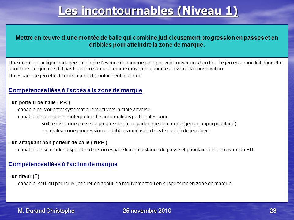 M. Durand Christophe25 novembre 201028 Les incontournables (Niveau 1) Mettre en œuvre dune montée de balle qui combine judicieusement progression en p