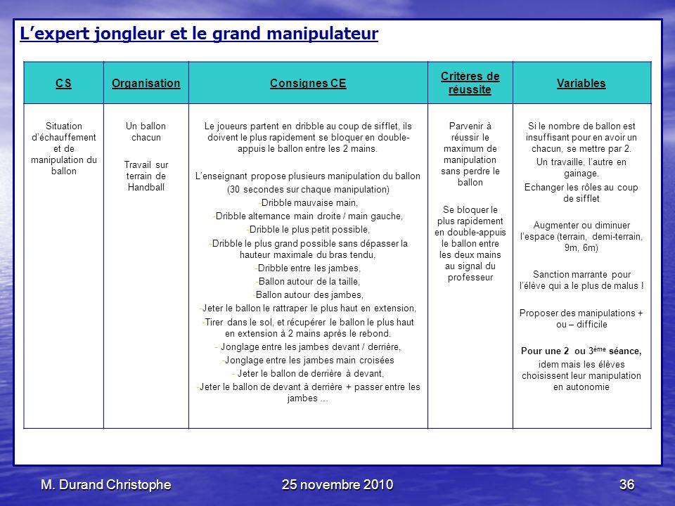 M. Durand Christophe25 novembre 201036 Lexpert jongleur et le grand manipulateur CSOrganisationConsignes CE Critères de réussite Variables Situation d