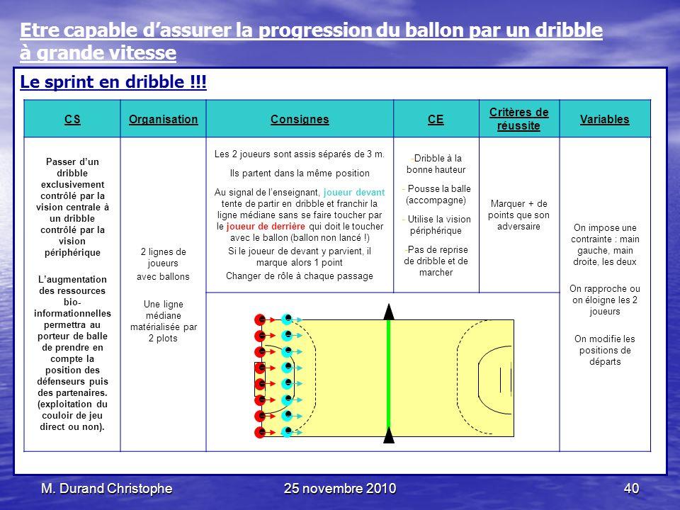 M. Durand Christophe25 novembre 201040 Le sprint en dribble !!! CSOrganisationConsignesCE Critères de réussite Variables Passer dun dribble exclusivem