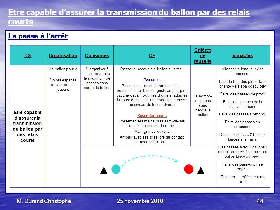 M. Durand Christophe25 novembre 201044 La passe à larrêt CSOrganisationConsignesCE Critères de réussite Variables Etre capable dassurer la transmissio
