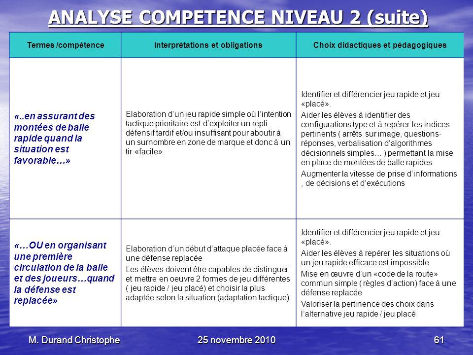 M. Durand Christophe25 novembre 201061 ANALYSE COMPETENCE NIVEAU 2 (suite) Termes /compétenceInterprétations et obligationsChoix didactiques et pédago