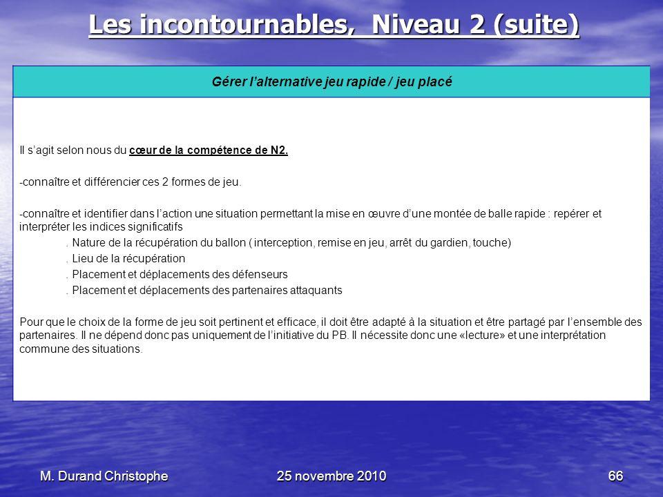 M. Durand Christophe25 novembre 201066 Les incontournables, Niveau 2 (suite) Gérer lalternative jeu rapide / jeu placé Il sagit selon nous du cœur de