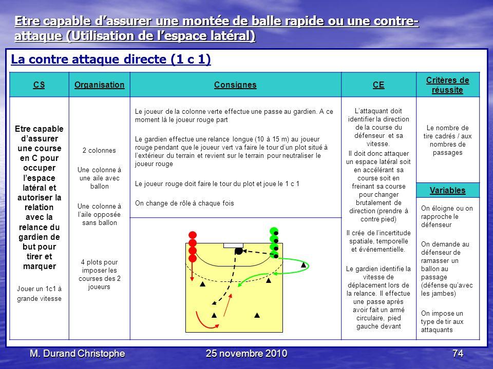 M. Durand Christophe25 novembre 201074 La contre attaque directe (1 c 1) CSOrganisationConsignesCE Critères de réussite Etre capable dassurer une cour