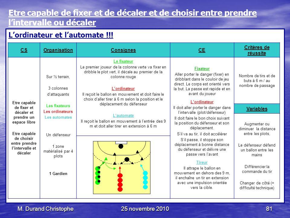 M. Durand Christophe25 novembre 201081 Lordinateur et lautomate !!! CSOrganisationConsignesCE Critères de réussite Etre capable de fixer et décaler et