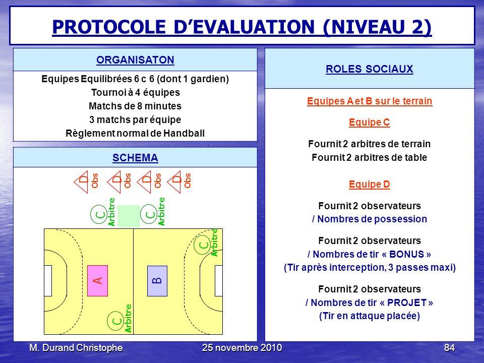 M. Durand Christophe25 novembre 201084 PROTOCOLE DEVALUATION (NIVEAU 2) ROLES SOCIAUX Equipes A et B sur le terrain Equipe C Fournit 2 arbitres de ter