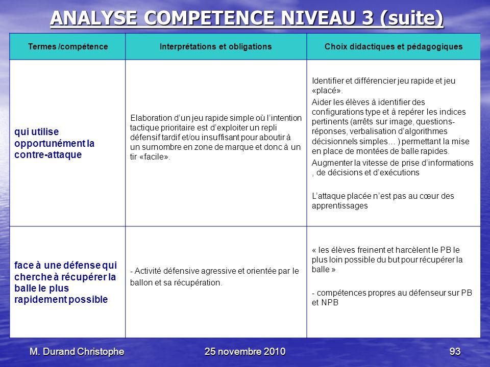 M. Durand Christophe25 novembre 201093 ANALYSE COMPETENCE NIVEAU 3 (suite) Termes /compétenceInterprétations et obligationsChoix didactiques et pédago