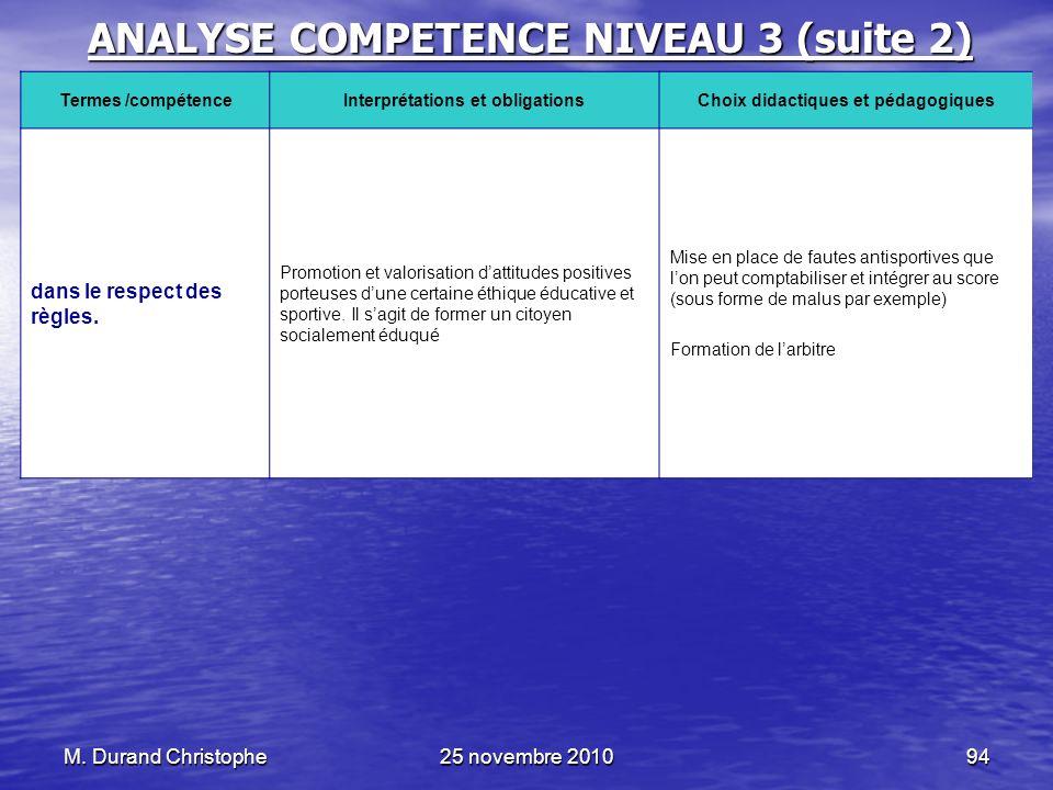 M. Durand Christophe25 novembre 201094 ANALYSE COMPETENCE NIVEAU 3 (suite 2) Termes /compétenceInterprétations et obligationsChoix didactiques et péda