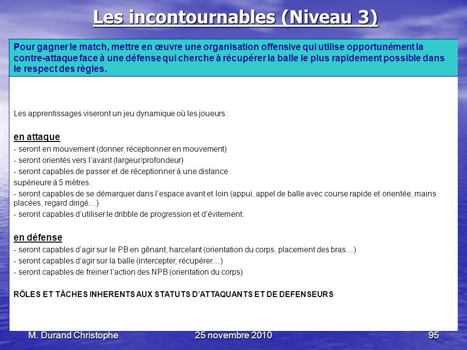 M. Durand Christophe25 novembre 201095 Les incontournables (Niveau 3) Pour gagner le match, mettre en œuvre une organisation offensive qui utilise opp