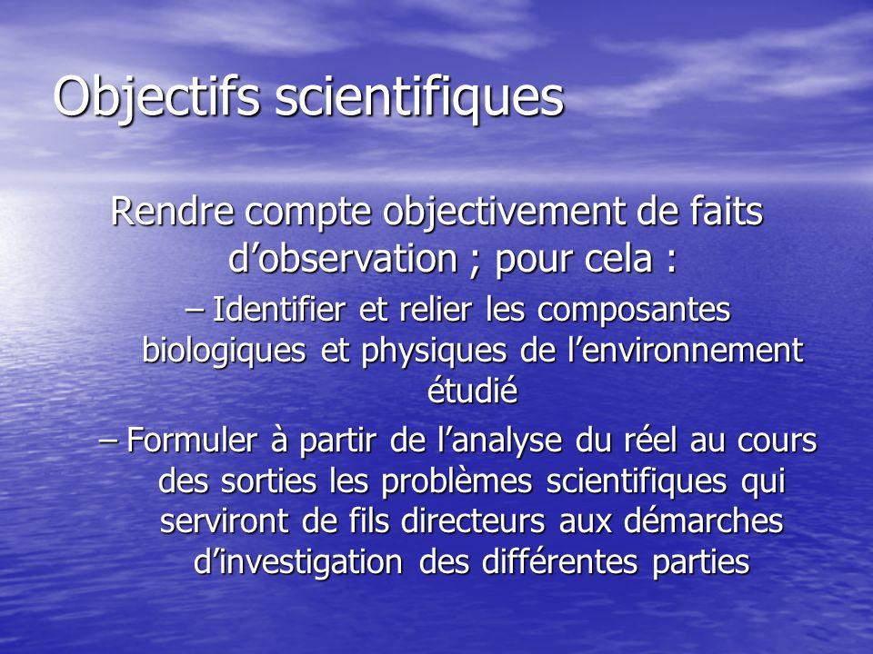 Objectifs scientifiques Rendre compte objectivement de faits dobservation ; pour cela : –Identifier et relier les composantes biologiques et physiques