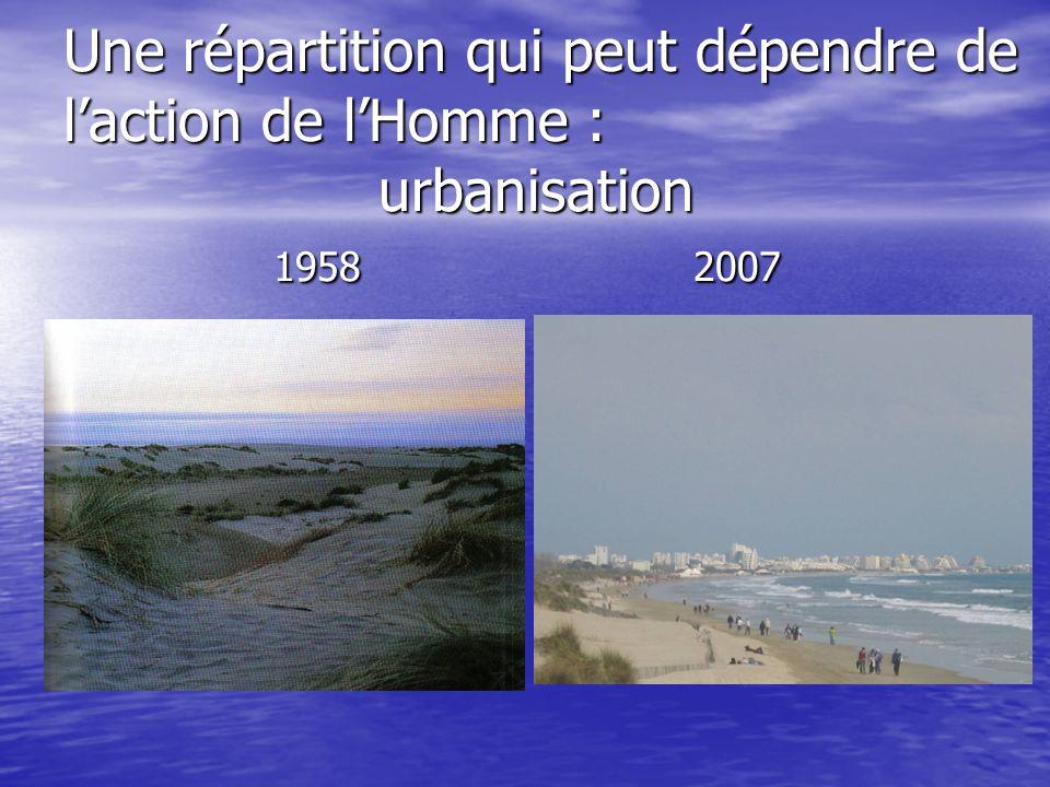 Une répartition qui peut dépendre de laction de lHomme : urbanisation 19582007