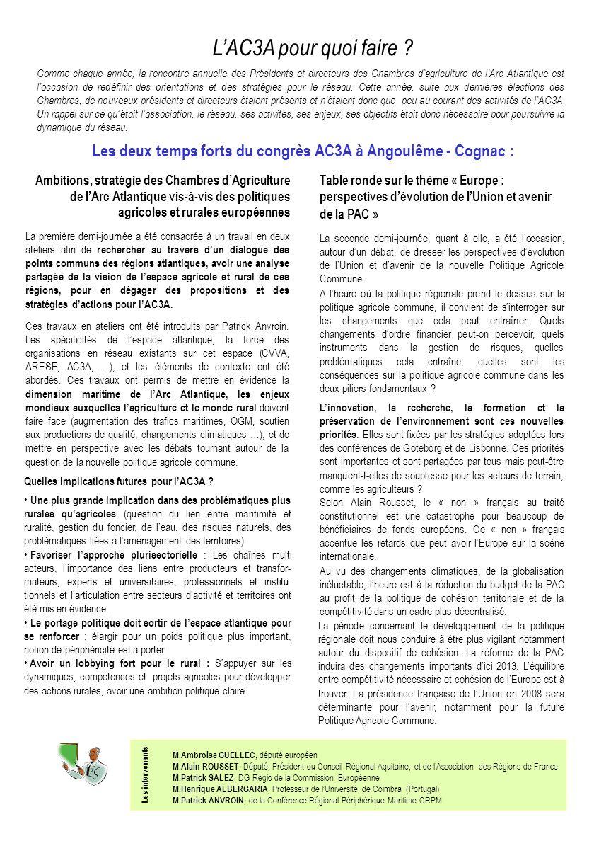 Quelles implications futures pour lAC3A .