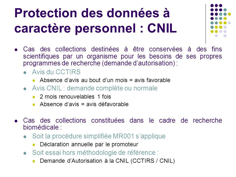 Protection des données à caractère personnel : CNIL Cas des collections destinées à être conservées à des fins scientifiques par un organisme pour les