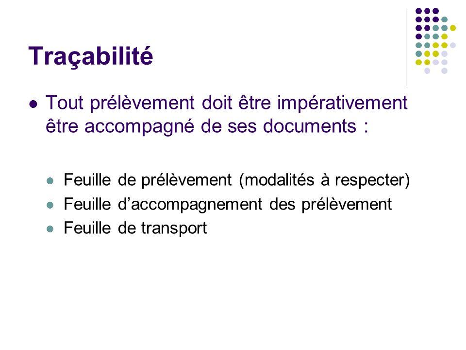 Traçabilité Tout prélèvement doit être impérativement être accompagné de ses documents : Feuille de prélèvement (modalités à respecter) Feuille daccom
