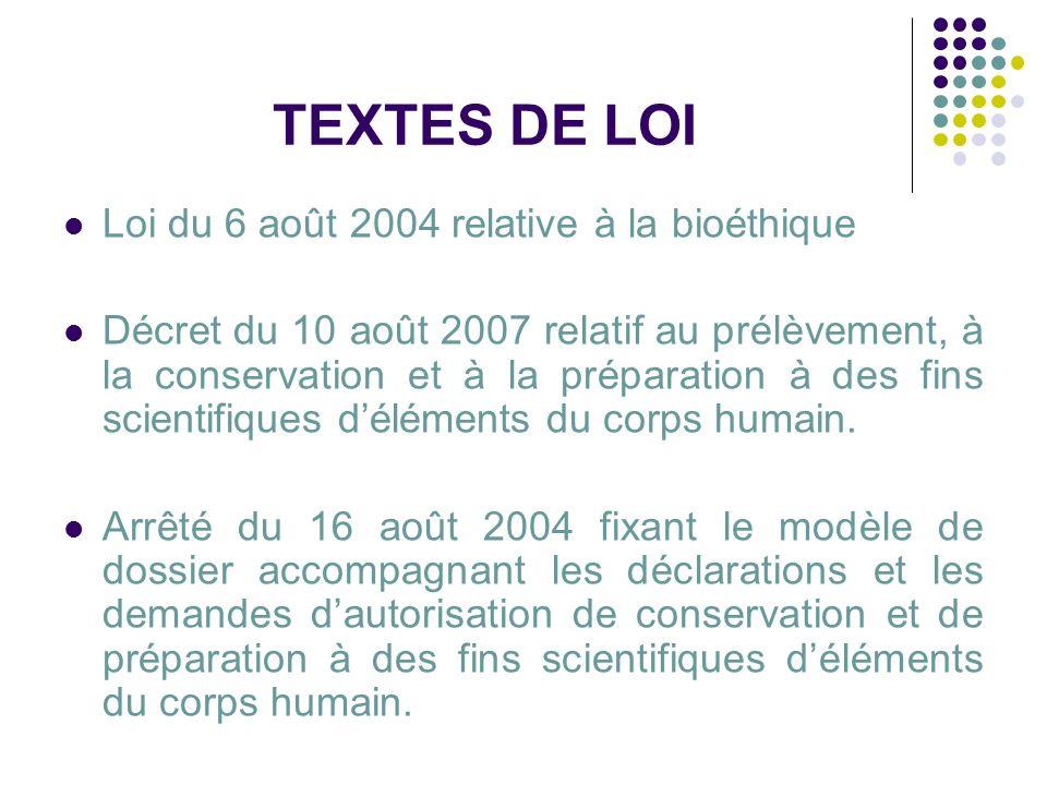 TEXTES DE LOI Loi du 6 août 2004 relative à la bioéthique Décret du 10 août 2007 relatif au prélèvement, à la conservation et à la préparation à des f