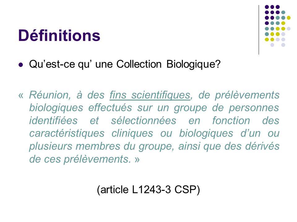 Définitions Quest-ce qu une Collection Biologique? « Réunion, à des fins scientifiques, de prélèvements biologiques effectués sur un groupe de personn